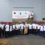 Sadhguru led the Yoga session at the Iconic Indian Navy Floating Dock