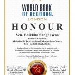 Ven. Bhikku Sanghasena honoured by the World Book of Records