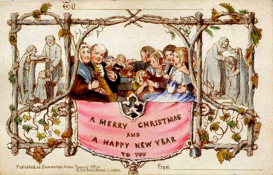 """Firstchristmascard"". Licensed under Public Domain via Wikimedia Commons"
